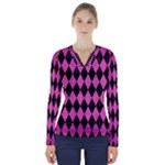 DIAMOND1 BLACK MARBLE & PINK BRUSHED METAL V-Neck Long Sleeve Top