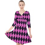 DIAMOND1 BLACK MARBLE & PINK BRUSHED METAL Quarter Sleeve Front Wrap Dress