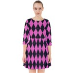 DIAMOND1 BLACK MARBLE & PINK BRUSHED METAL Smock Dress