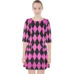 DIAMOND1 BLACK MARBLE & PINK BRUSHED METAL Pocket Dress
