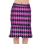 DIAMOND1 BLACK MARBLE & PINK BRUSHED METAL Mermaid Skirt