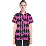 DIAMOND1 BLACK MARBLE & PINK BRUSHED METAL Women s Short Sleeve Shirt