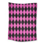 DIAMOND1 BLACK MARBLE & PINK BRUSHED METAL Medium Tapestry