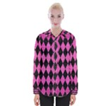 DIAMOND1 BLACK MARBLE & PINK BRUSHED METAL Womens Long Sleeve Shirt