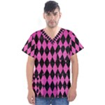 DIAMOND1 BLACK MARBLE & PINK BRUSHED METAL Men s V-Neck Scrub Top