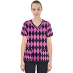 DIAMOND1 BLACK MARBLE & PINK BRUSHED METAL Scrub Top
