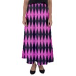 DIAMOND1 BLACK MARBLE & PINK BRUSHED METAL Flared Maxi Skirt