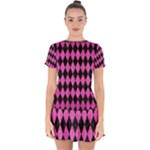 DIAMOND1 BLACK MARBLE & PINK BRUSHED METAL Drop Hem Mini Chiffon Dress