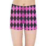 DIAMOND1 BLACK MARBLE & PINK BRUSHED METAL Kids Sports Shorts