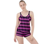 DIAMOND1 BLACK MARBLE & PINK BRUSHED METAL Boyleg Tankini Set