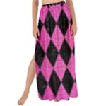 DIAMOND1 BLACK MARBLE & PINK BRUSHED METAL Maxi Chiffon Tie-Up Sarong