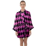 DIAMOND1 BLACK MARBLE & PINK BRUSHED METAL Long Sleeve Kimono Robe