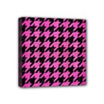 HOUNDSTOOTH1 BLACK MARBLE & PINK BRUSHED METAL Mini Canvas 4  x 4