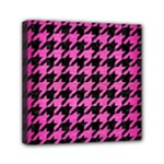 HOUNDSTOOTH1 BLACK MARBLE & PINK BRUSHED METAL Mini Canvas 6  x 6