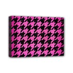 HOUNDSTOOTH1 BLACK MARBLE & PINK BRUSHED METAL Mini Canvas 7  x 5