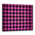 HOUNDSTOOTH1 BLACK MARBLE & PINK BRUSHED METAL Canvas 24  x 20