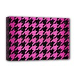 HOUNDSTOOTH1 BLACK MARBLE & PINK BRUSHED METAL Deluxe Canvas 18  x 12