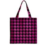 HOUNDSTOOTH1 BLACK MARBLE & PINK BRUSHED METAL Zipper Grocery Tote Bag