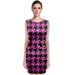 HOUNDSTOOTH1 BLACK MARBLE & PINK BRUSHED METAL Classic Sleeveless Midi Dress