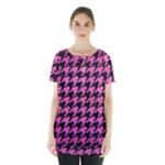 HOUNDSTOOTH1 BLACK MARBLE & PINK BRUSHED METAL Skirt Hem Sports Top