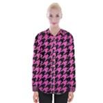 HOUNDSTOOTH1 BLACK MARBLE & PINK BRUSHED METAL Womens Long Sleeve Shirt