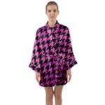 HOUNDSTOOTH1 BLACK MARBLE & PINK BRUSHED METAL Long Sleeve Kimono Robe