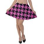HOUNDSTOOTH1 BLACK MARBLE & PINK BRUSHED METAL Velvet Skater Skirt
