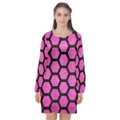 Hexagon2 Black Marble & Pink Brushed Metal Long Sleeve Chiffon Shift Dress  by trendistuff