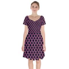 Scales1 Black Marble & Pink Brushed Metal (r) Short Sleeve Bardot Dress by trendistuff