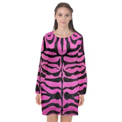 Skin2 Black Marble & Pink Brushed Metal Long Sleeve Chiffon Shift Dress  by trendistuff