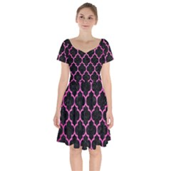 Tile1 Black Marble & Pink Brushed Metal (r) Short Sleeve Bardot Dress by trendistuff