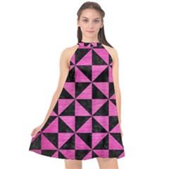 Triangle1 Black Marble & Pink Brushed Metal Halter Neckline Chiffon Dress  by trendistuff