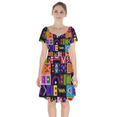 Abstract A Colorful Modern Illustration Short Sleeve Bardot Dress