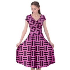 Woven1 Black Marble & Pink Brushed Metal Cap Sleeve Wrap Front Dress
