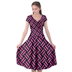 Woven2 Black Marble & Pink Brushed Metal (r) Cap Sleeve Wrap Front Dress by trendistuff