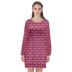 Brick1 Black Marble & Pink Denim Long Sleeve Chiffon Shift Dress  by trendistuff