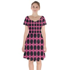 Circles1 Black Marble & Pink Denim Short Sleeve Bardot Dress