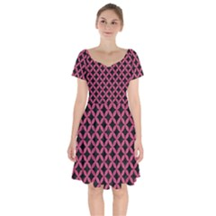 Circles3 Black Marble & Pink Denim (r) Short Sleeve Bardot Dress
