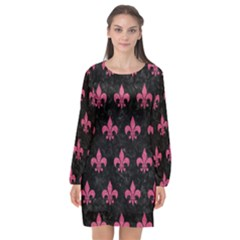 Royal1 Black Marble & Pink Denim Long Sleeve Chiffon Shift Dress  by trendistuff