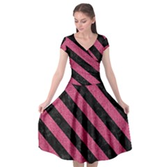 Stripes3 Black Marble & Pink Denim Cap Sleeve Wrap Front Dress by trendistuff