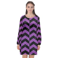 Chevron2 Black Marble & Purple Denim Long Sleeve Chiffon Shift Dress  by trendistuff