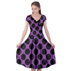 Circles2 Black Marble & Purple Denim Cap Sleeve Wrap Front Dress by trendistuff