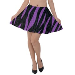 Skin3 Black Marble & Purple Denim (r) Velvet Skater Skirt by trendistuff