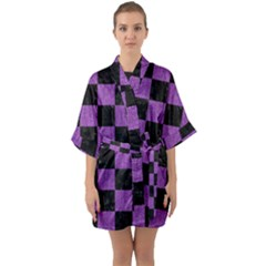 Square1 Black Marble & Purple Denim Quarter Sleeve Kimono Robe