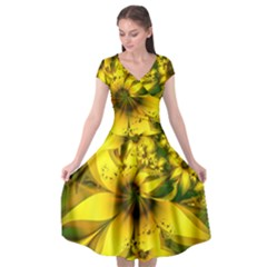 Beautiful Yellow-green Meadow Of Daffodil Flowers Cap Sleeve Wrap Front Dress by jayaprime