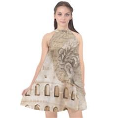 Colosseum Rome Caesar Background Halter Neckline Chiffon Dress  by Celenk