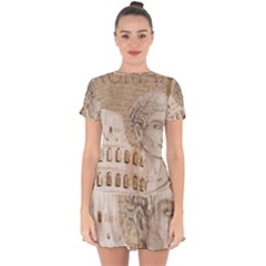 Colosseum Rome Caesar Background Drop Hem Mini Chiffon Dress by Celenk
