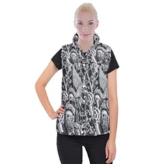 Black And White Pattern Texture Women s Button Up Puffer Vest by Celenk