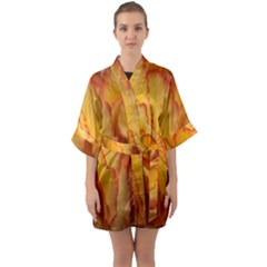 Flowers Leaves Leaf Floral Summer Quarter Sleeve Kimono Robe