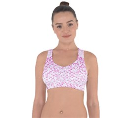 Halftone Dot Background Pattern Cross String Back Sports Bra by Celenk
